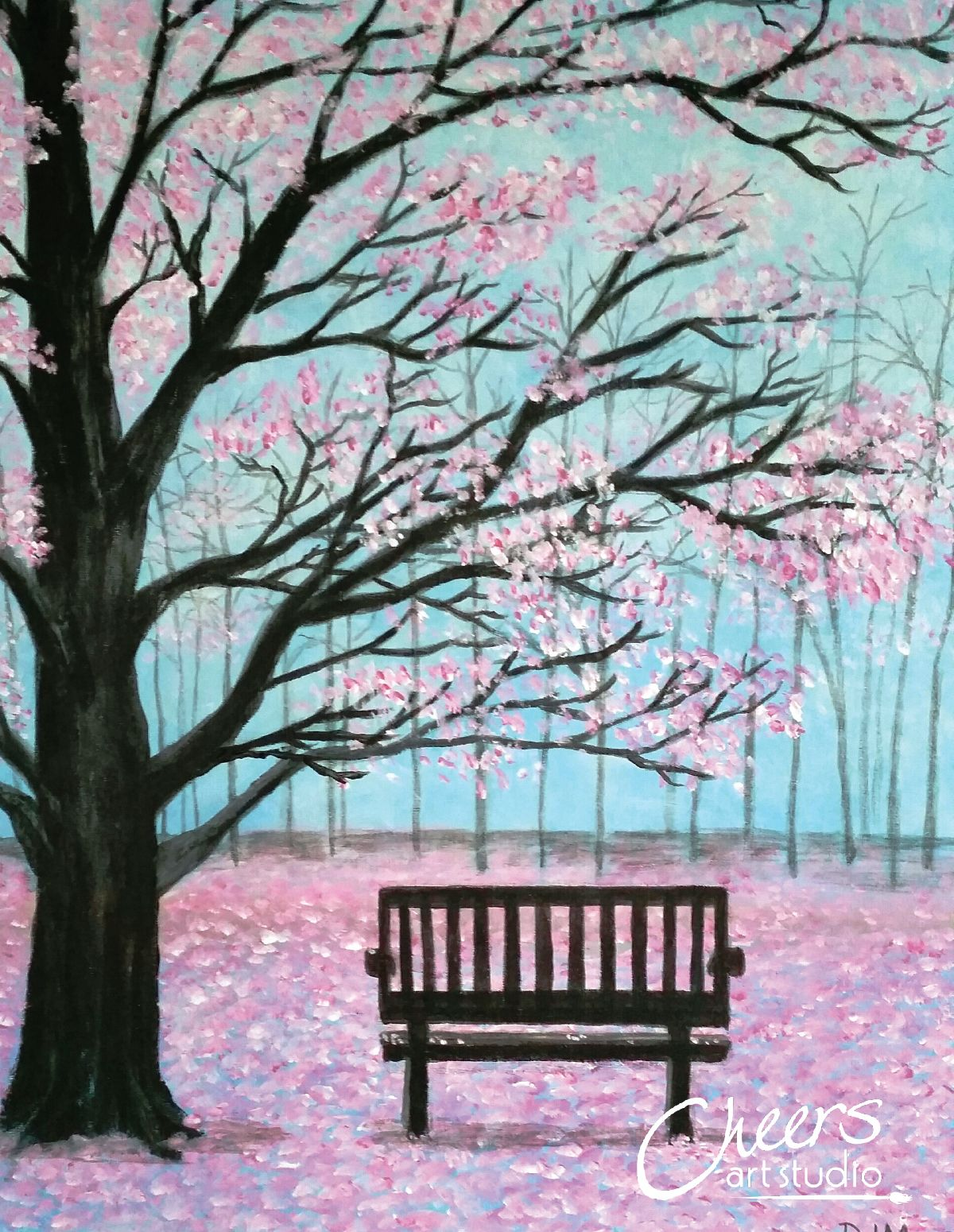 Cherry Blossom Tree With Bench Painting Tree Art Tree Painting Cherry Blossom Tree