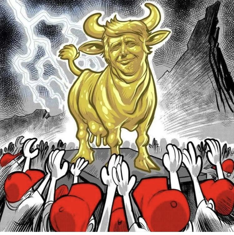 Image result for trump golden calf cartoon