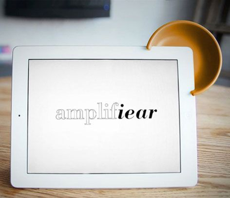 Amplifiear, a device to amplify the speaker on the iPad