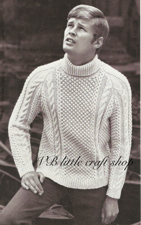 22d39078a2da2 Men s aran sweater knitting pattern. Instant PDF download! by  VBlittlecraftshop on Etsy