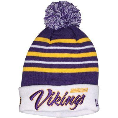 239319511 Mens Minnesota Vikings New Era Purple/White Snowfall Stripe Knit Hat ...