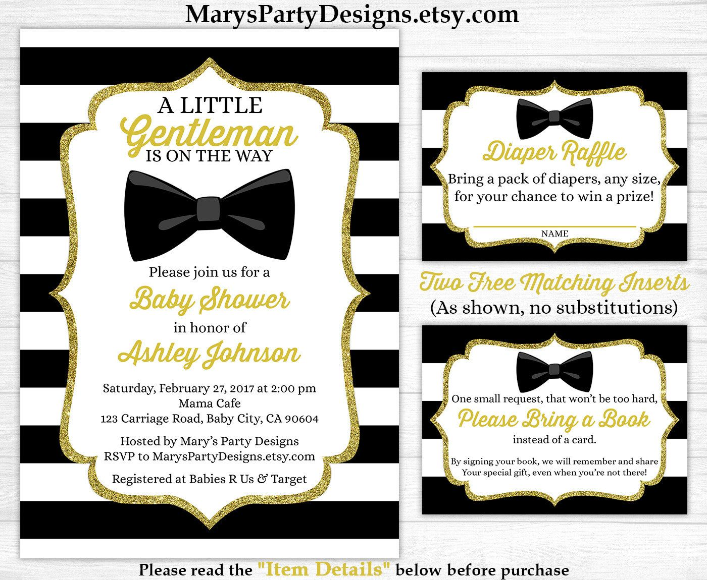 Little Gentleman Baby Shower Invitation - Boy Gold Black White Stripes Man  Bow Tie Free Diaper Raffle Ticket Book Request Card Printable by ...