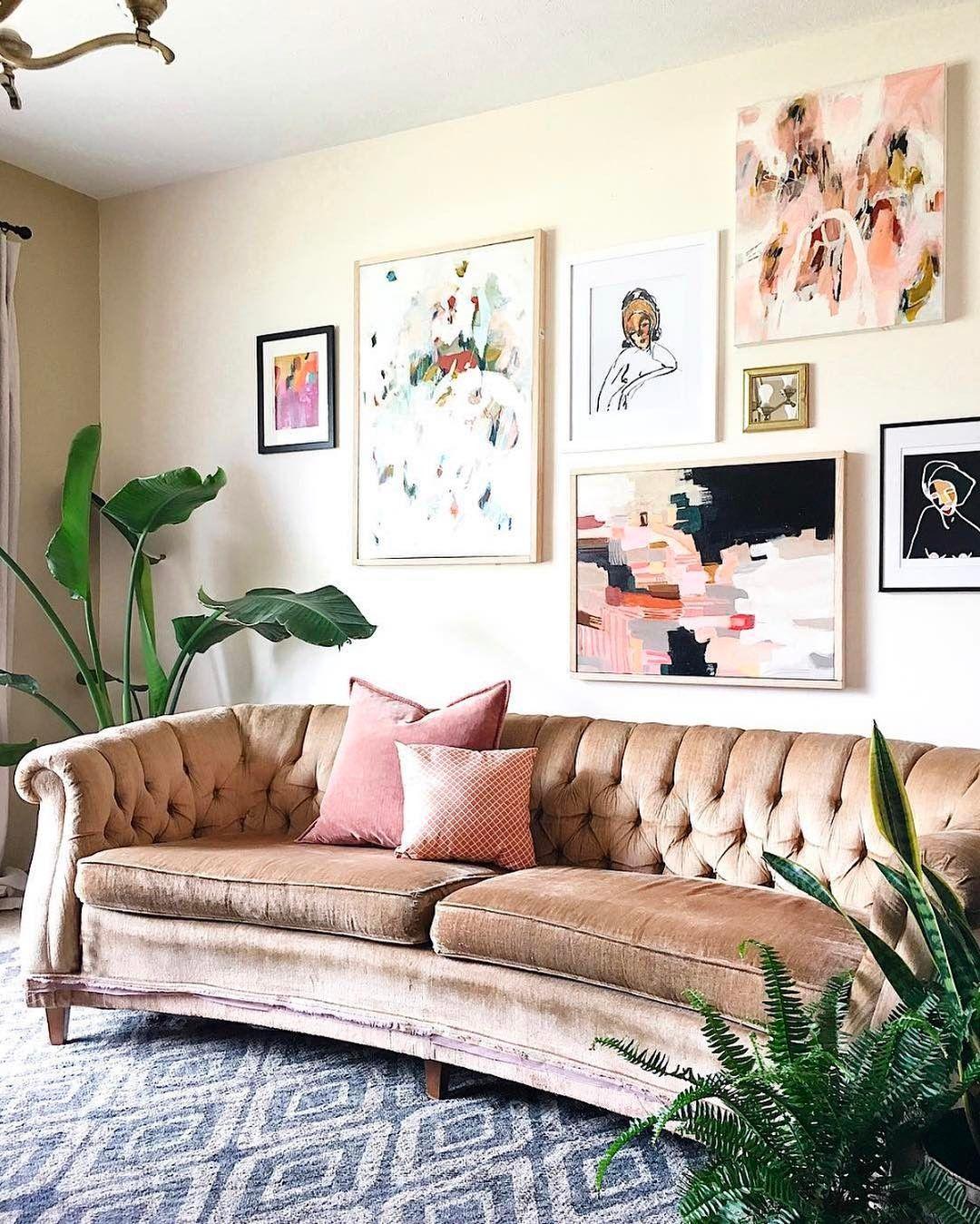 pink velvet couch emily henderson interior design pinterest