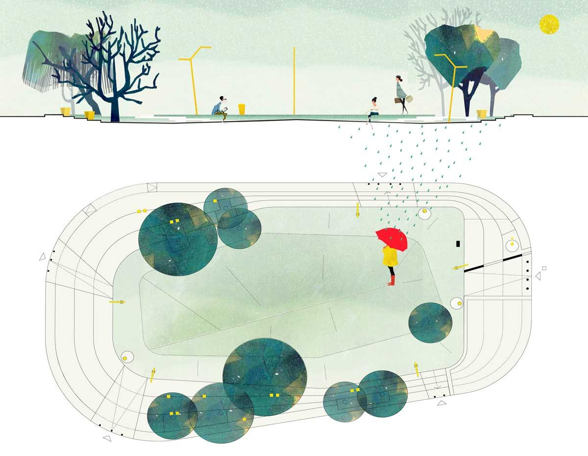 Landscape Architecture Section Drawings regeneration of parco delle sughere ( donoratico, tuscany, italy