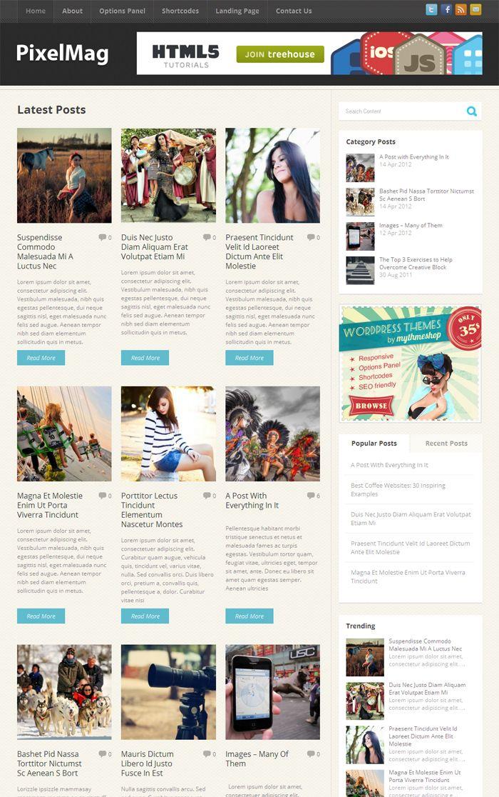 Pixelmag WordPress 3 Columns Responsive Theme