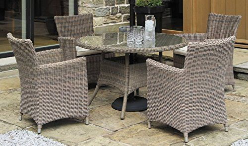 Cambridge 4 Seater Round Rattan Weave Dining Set with Cushions Mixed