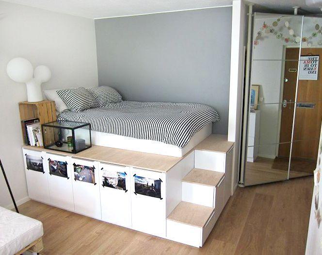 ein bett aus regalen bauen bringt spa und auch mehr stauraum eine upcycling idee die sich. Black Bedroom Furniture Sets. Home Design Ideas