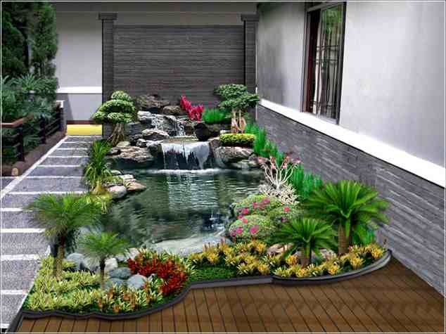 desain taman minimalis modern dengan kolam ikan cantik depan rumah gambar