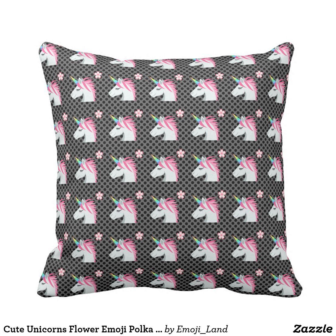 Cute Unicorns Flower Emoji Polka Dots Pattern Throw Pillow