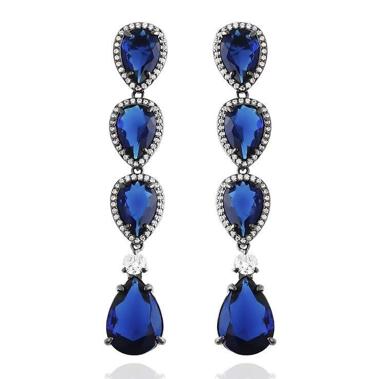 Brinco 30 Cinzia Longo Semi Joia Pedra Azul Safira Zirconias Folheado Rodio  Negro festa (L-E2757WSHBK) 78925e542f