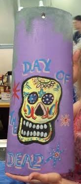 Day of the Dead Sugar Skull Painted Clay Roof Tile