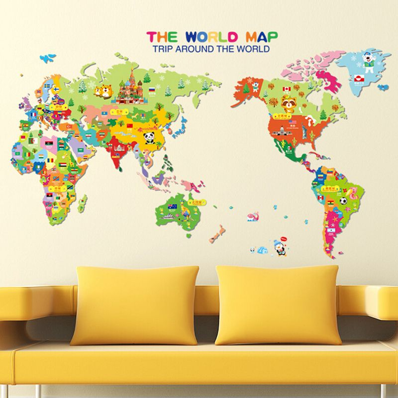 kids bedroom 3d cartoon world map wall sticker removable baby room ...