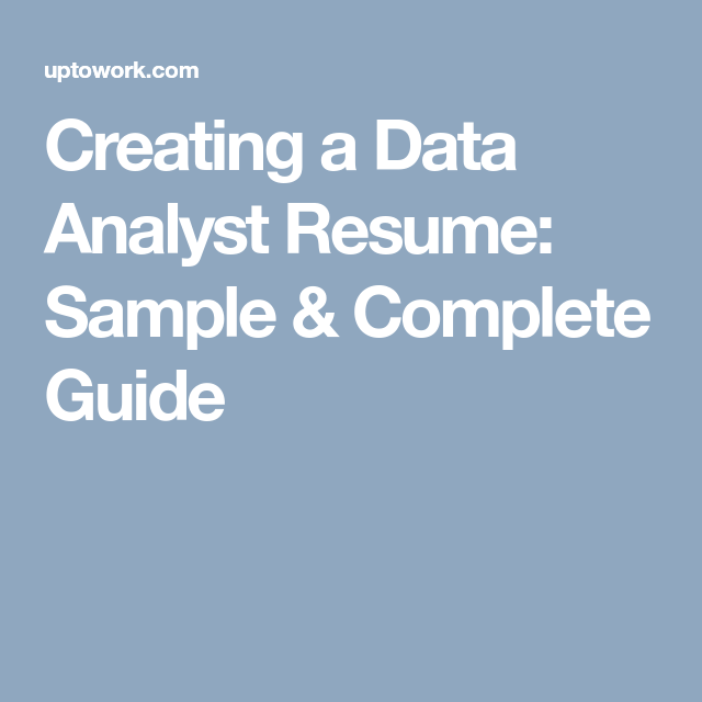 Creating A Data Analyst Resume Sample  Complete Guide  Career