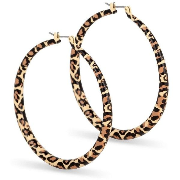 Leopard Print Hoop Earring 3 15 Liked On Polyvore Featuring Jewelry