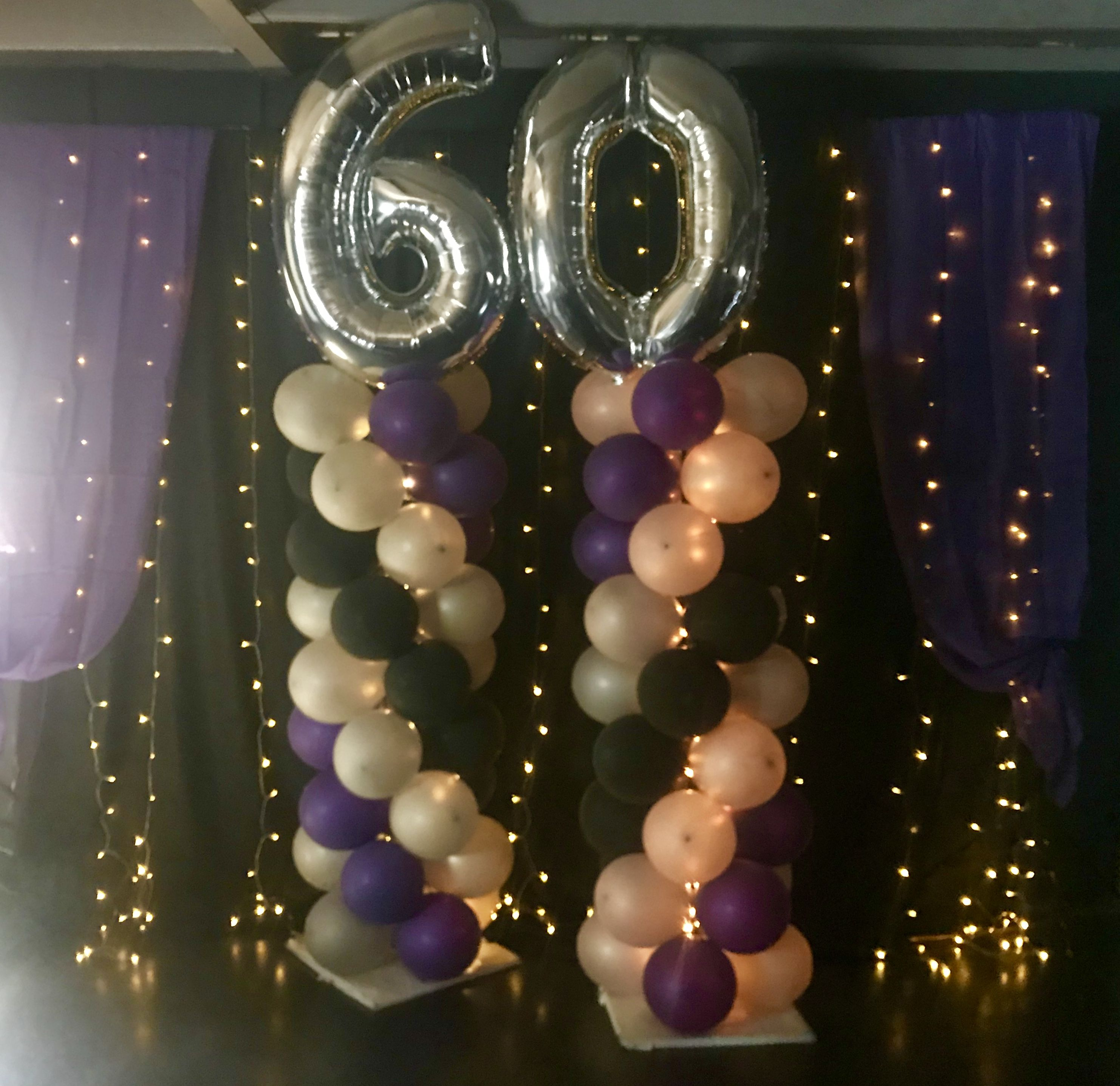 60th Birthday Party Ideas Purple Black And Silver Balloons With Lights