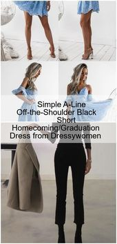 simple aline offtheshoulder black short homecoming