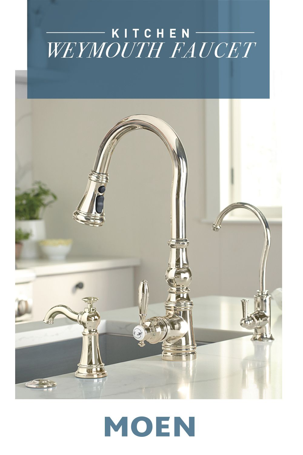 Add New Life To Your Kitchen With Our Weymouth Faucet In A Stunning Polished Nickel Finish Moen Kitchen Faucet Chrome Kitchen Faucet Kitchen And Bath Design