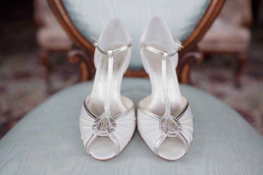 Mimi Satin T Bar Peep Toe Shoes By Rachel Simpson