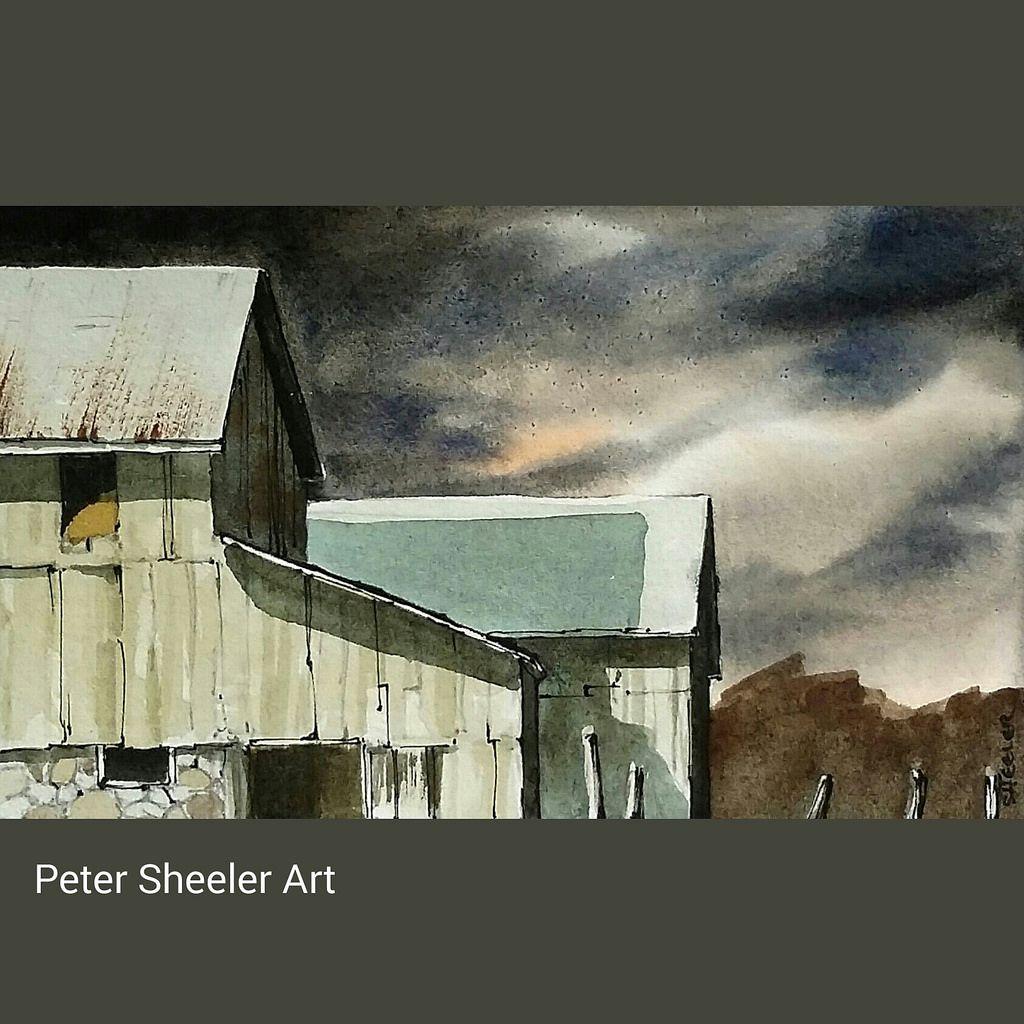 Rural sketch of a Barn at night #landscape #art #original ...