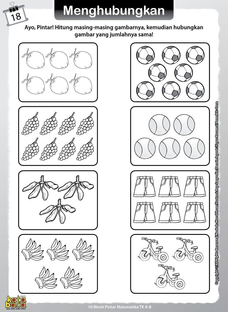 Baca line Buku 10 Menit Pintar Matematika TK dan PAUD adalah buku aktivitas belajar matematika bergambar
