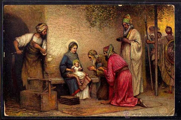 Antigua Postal Adoracion De Los Reyes Magos Circulada 1920 Pinturas Renacentistas Renacimiento Italiano Giorgio Vasari
