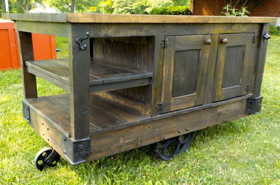 rustic portable kitchen island. Industrial Steampunk Style Hand Made Factory Cart Kitchen Island Rustic Portable A