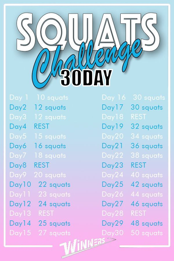 Time to squats! Try this plan. 10 squats ➡ 50 squats!