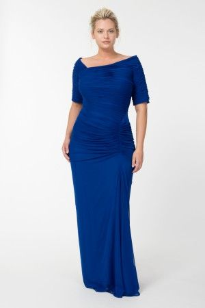 5bd75012eab18 Asymmetric Ruched Sleeve Gown in Marina - Plus Size Evening Shop