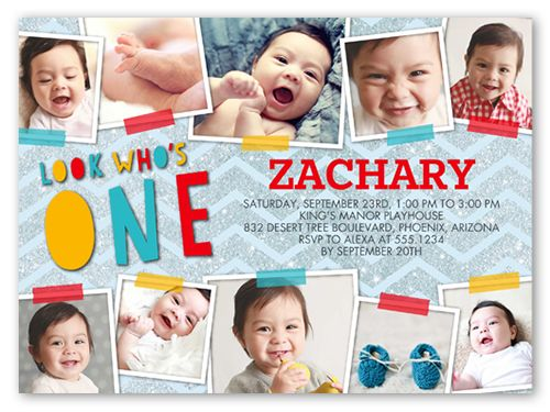 Taped Moments Boy Birthday Invitation Card Cards Invite Baby