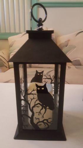 Halloween Scene Lantern w/ LED Timer Candle Lighted Decor ~ Choose - halloween lighted decorations