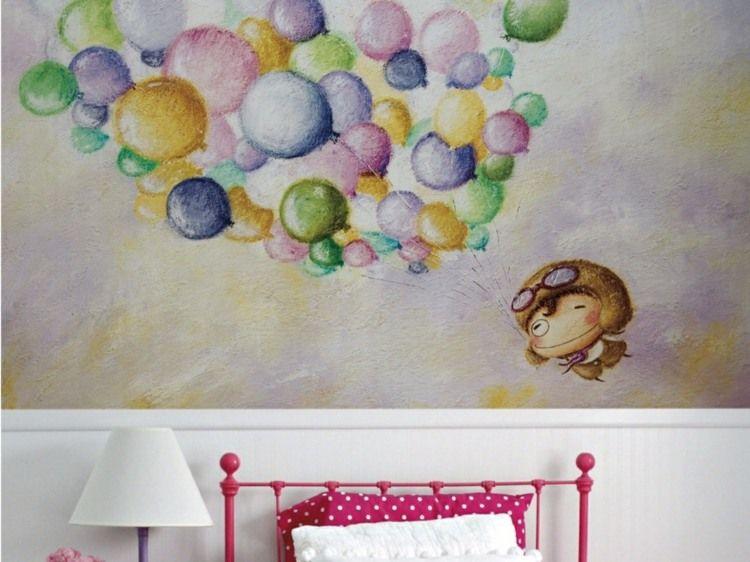 Lustige Tapete In Heiteren Farben Mit Gelben, Blauen, Grünen Und Lila  Luftballons