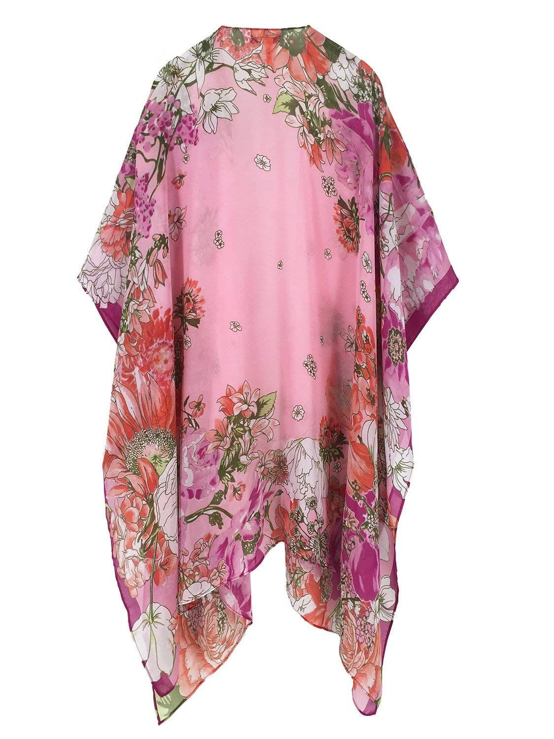 aa0babd243e76 Moss Rose Women's Beach Cover up Swimsuit Kimono Cardigan with Bohemian  Floral Print (Color27) at Amazon Women's Clothing store: