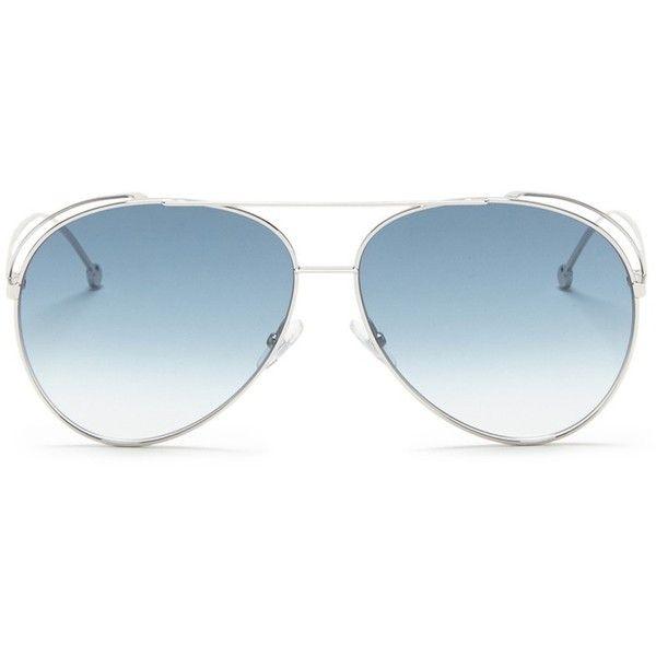 c224e39eb741 Fendi Cutout spoiler metal double bridge aviator sunglasses ($355) ❤ liked  on Polyvore featuring accessories, eyewear, sunglasses, metallic, cut out  ...