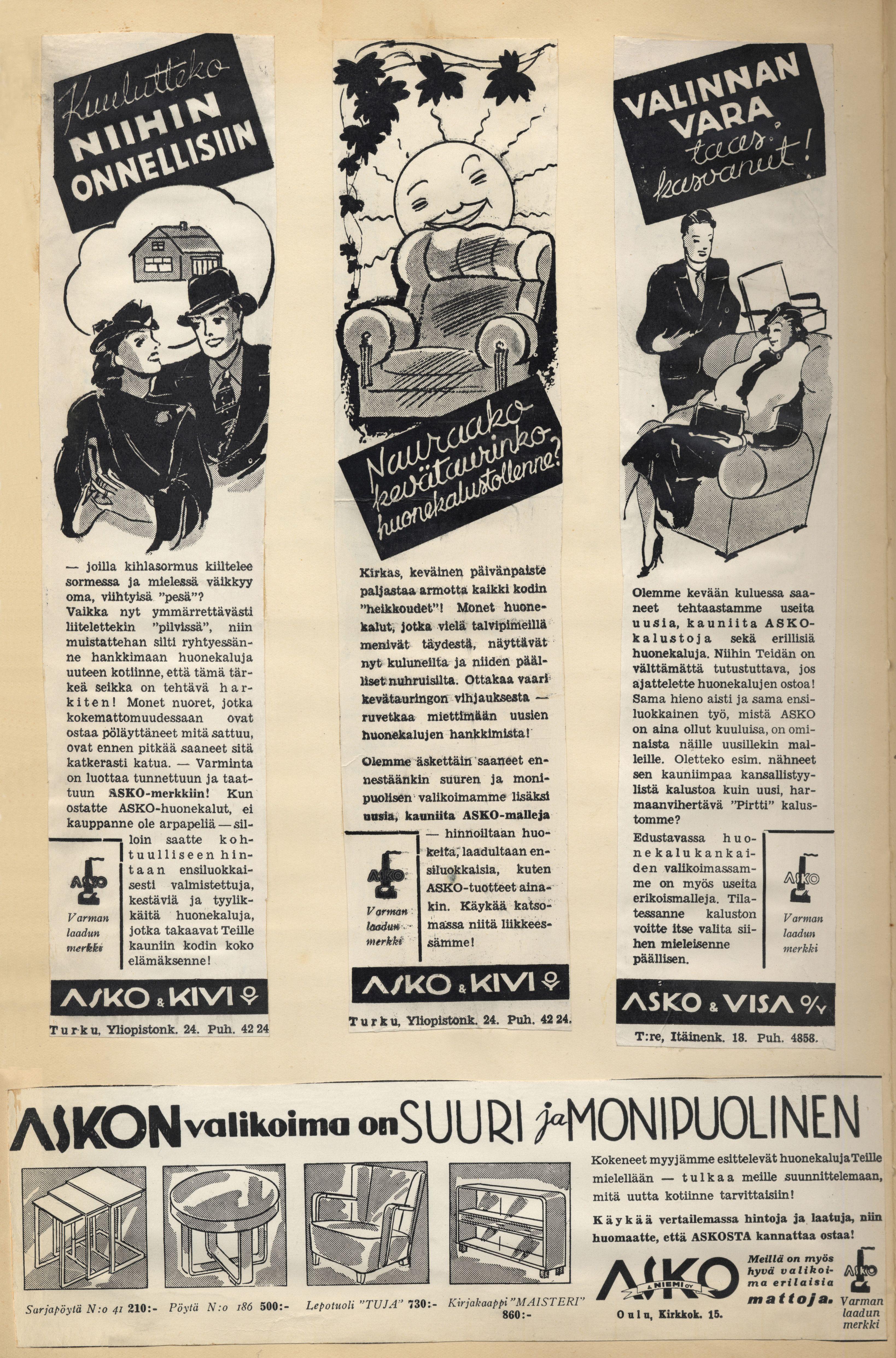 Kuulutteko niihin onnellisiin - Askon vanha lehtimainos vuodelta 1937