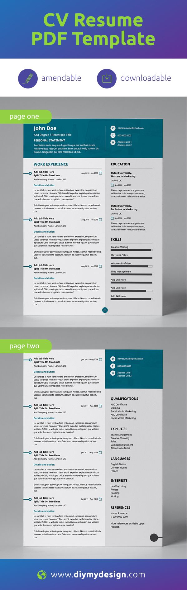 New Teal Modern Double Page CV Resume Business resume