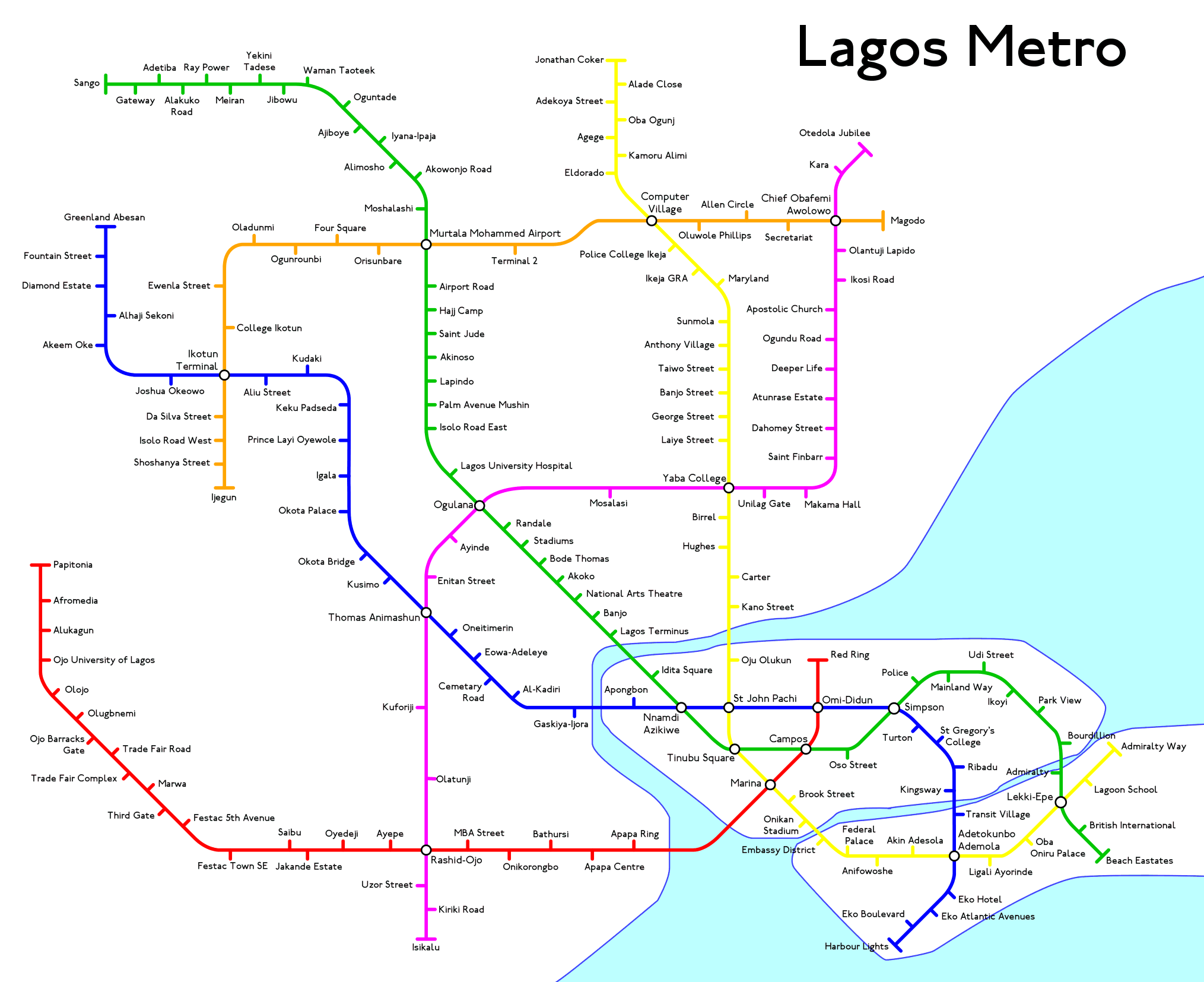 Lagos Nigeria Fantasy Metro Rail System Map By JohnQMetro From