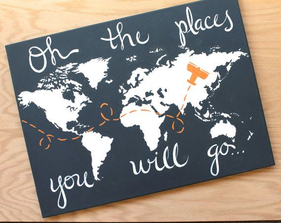 World Map On Canvas Oh The Places You Will Go 1 18x24 Custom