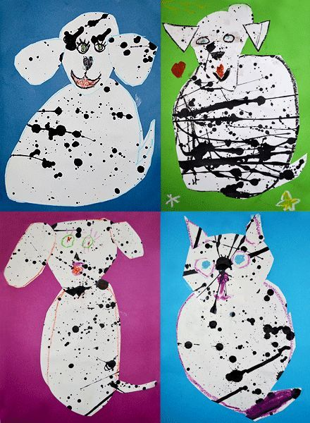 Splatter Painting - a really fun (and messy) art project for kids age 5+ - hop over to http://mollymoo.ie/2012/12/splatter-painting/ for the step by step photos :)