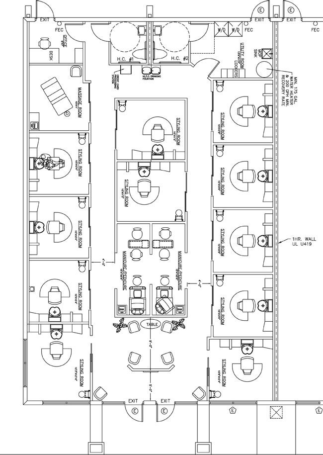 Beauty Salon Floor Plan Design Layout - 1490 Square Foot Salon - new blueprint hair design
