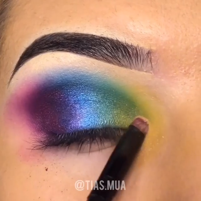 Purple & Blue Rainbow  Eyeshadow Tutorial -   11 makeup Eyeshadow for beginners ideas