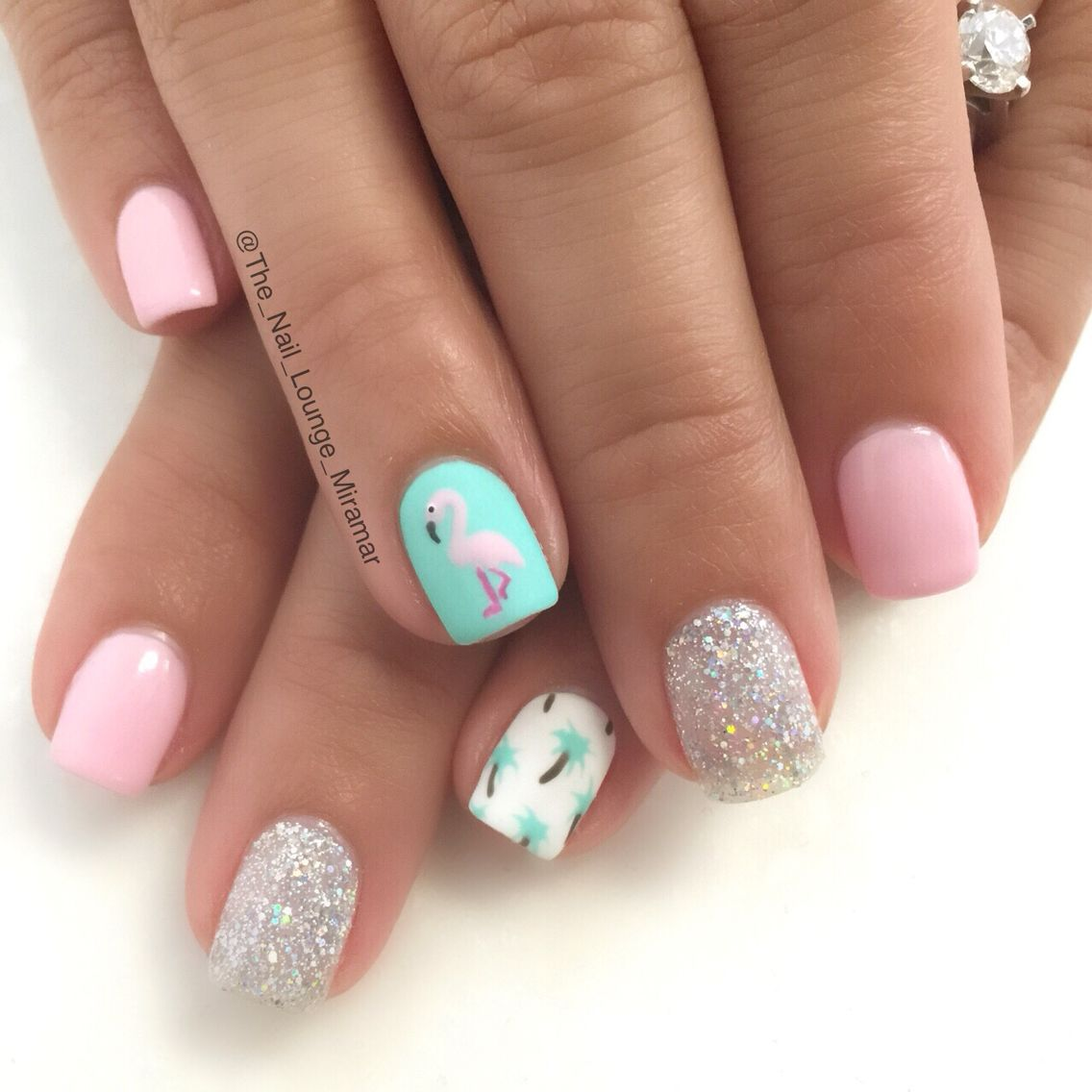 Flamingo palmtrees summer vacation nails inspired by ...