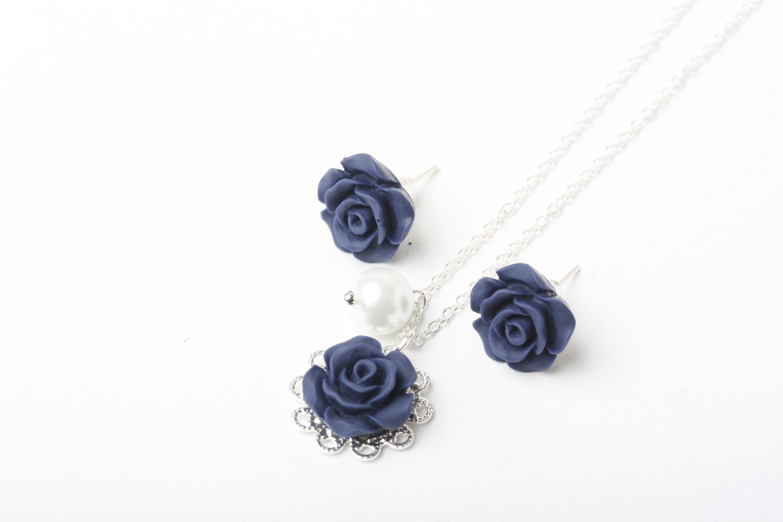Navy blue flower girl necklace navy blue rose necklace flower girl navy blue flower girl necklace navy blue rose necklace flower girl jewelry dark izmirmasajfo