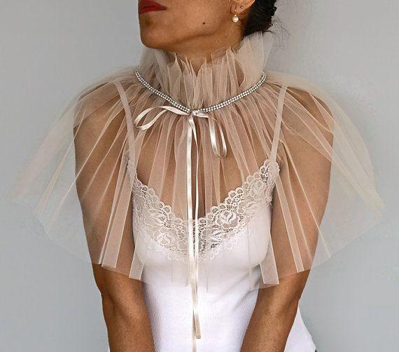Ecru Tulle Bridal Cape, Wedding Dress Cover up, Bridal Shrug Shawl Beige Cream Ruffled Bolero, Sheer Capelet, Modern Romantic Wedding