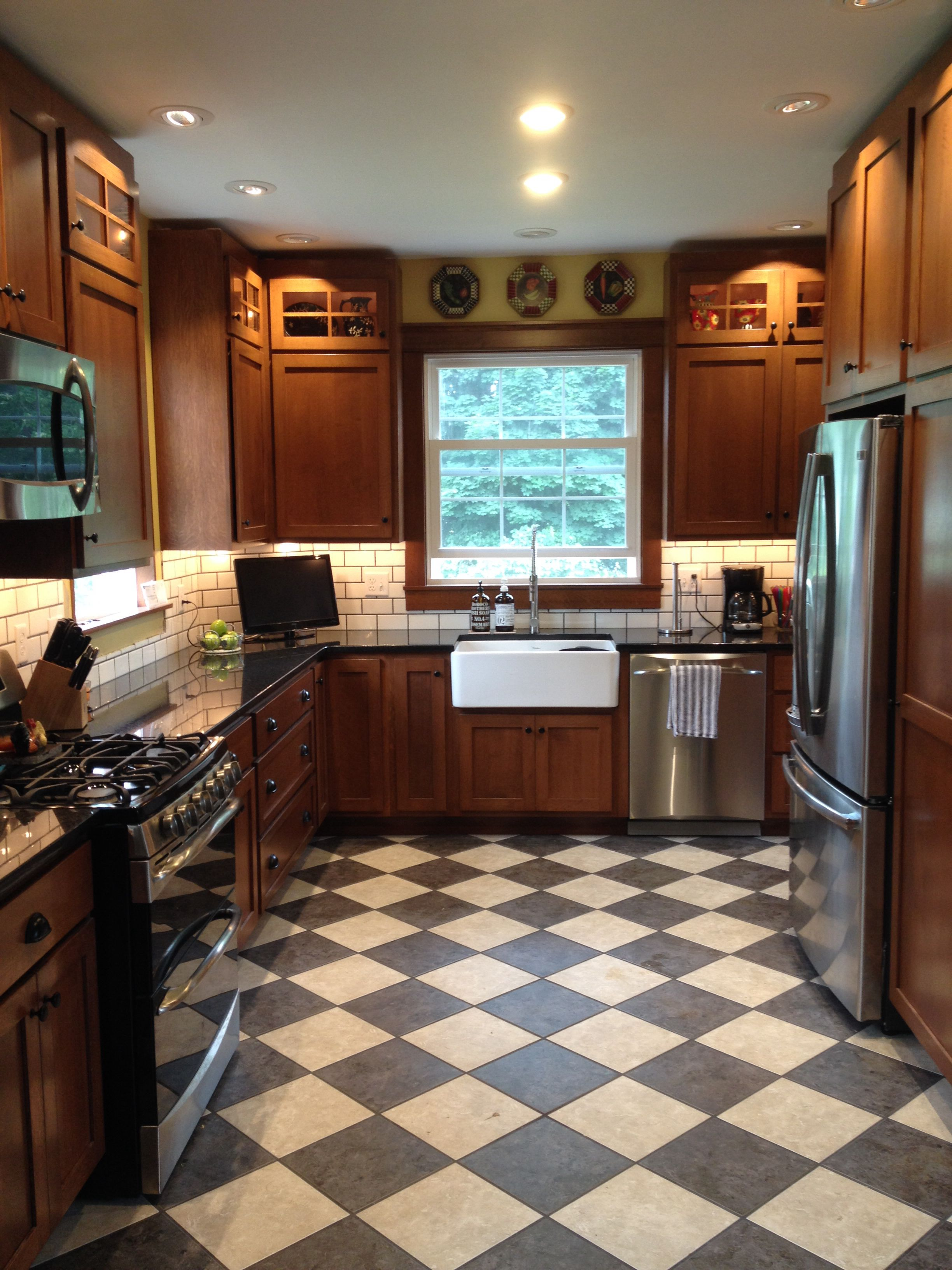 Circa 1890S Kitchen Remodel Checkerboard Floor Quarter Sawn Oak Cabinets