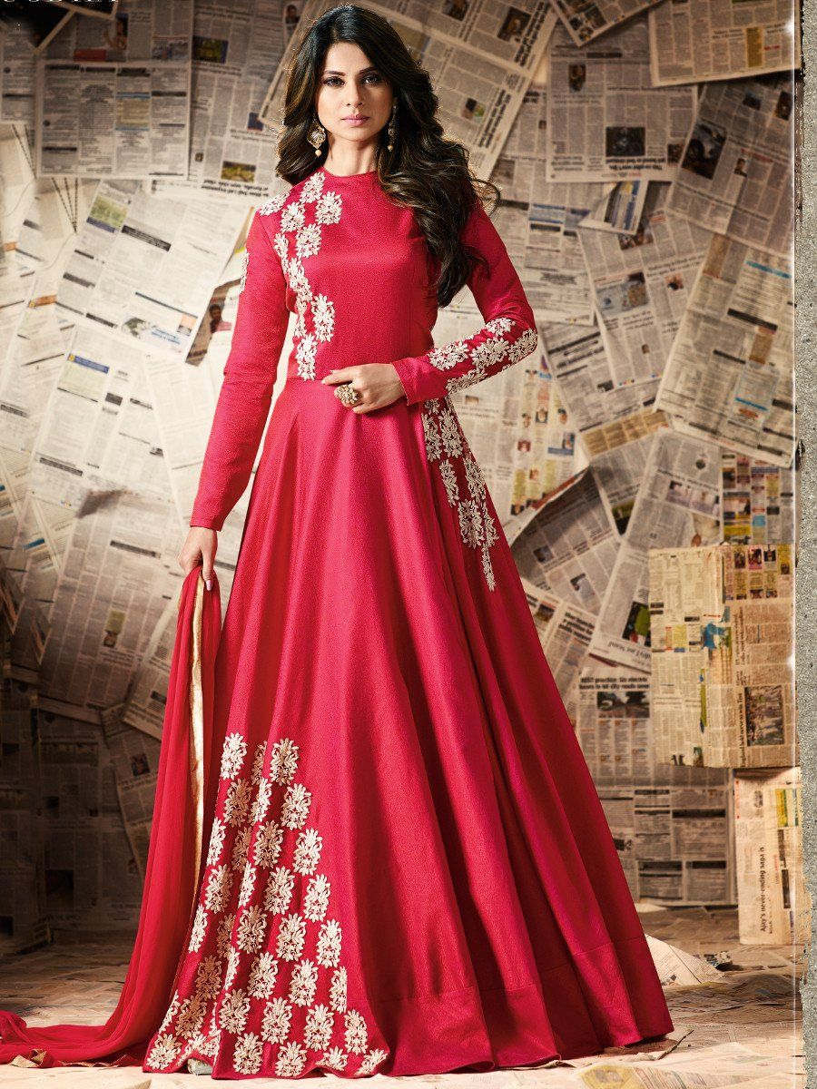 Shop Jennifer Winget Red Color Pure Silk Party Wear Anarkali Kameez Online At Kollybollyethnics From India With Free Worldwid Anarkali Dress Dresses Party Wear