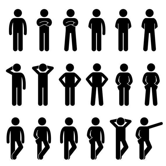 Basic Human Stick Figures Action Postures Poses Simple Black Stickman Person Silhouette Symbol Sign Svg Png Icons Stick Figure Bundle Vector Person Silhouette Stick Figures Pictogram