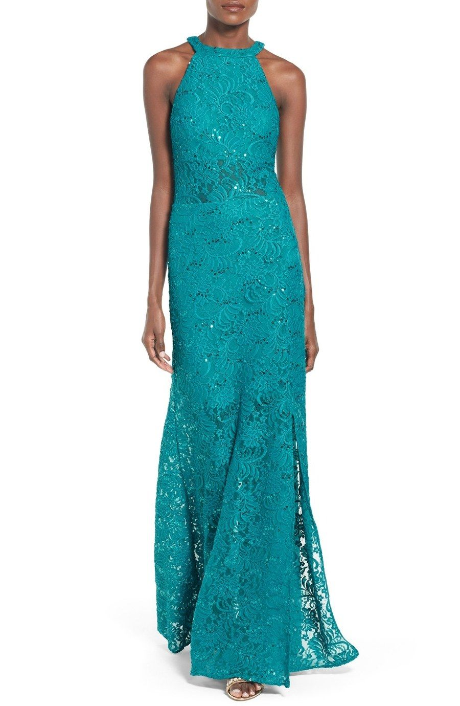 Morgan & Co. Sequin Lace Halter Gown, $150, nordstrom.com. | prom ...