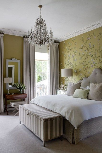 Yellow wallpaper and pompom curtains | Nice rooms, Illusions and ...