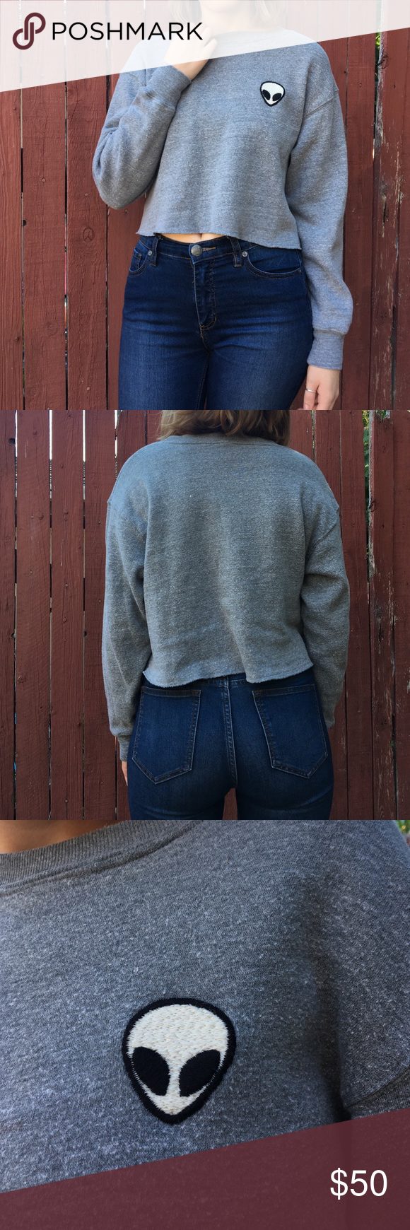 Brandy alien sweatshirt Cropped sweatshirt, gray. John galt Brandy Melville Tops Sweatshirts & Hoodies
