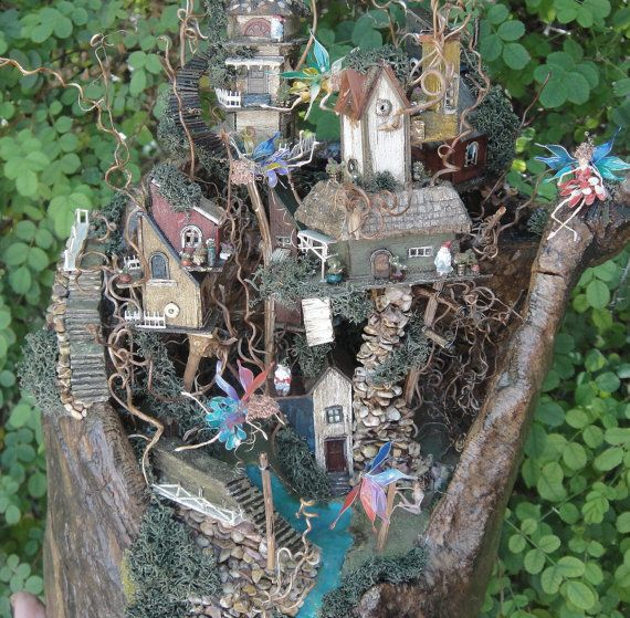Fairy Town In Old Tree Trunk/stump